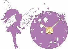 Wandtattoo Uhr Wanduhr mit Uhrwerk Kinderzimmer Prinzessin Fee (Uhr Gold//042 flieder)
