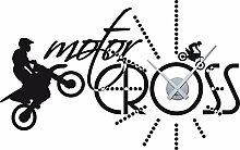 Wandtattoo Uhr Wanduhr Motorradsport Motocross Offroad für Ihr Wohnzimmer (Uhr Silber//070 schwarz)