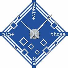 Wandtattoo Uhr Wanduhr Retro: Quadrate Cubes Wohnzimmer (Uhr Silber//052 azurblau)