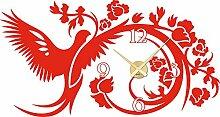 Wandtattoo Uhr Wanduhr Vogel mit Blumen Wohnzimmer Wanddeko (Uhrwerk gold//034 orange)