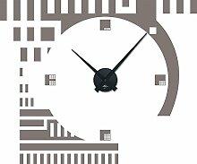 Wandtattoo Wandaufkleber mit Uhr Wanduhr für Wohnzimmer Retro Cubes Quadrate (Uhr Schwarz//090 silbergrau)