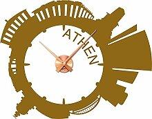 Wandtattoo Wanduhr Athen Skyline mit Uhrwerk für Ihr Wohnzimmer (Uhrwerk kupfer//092 kupfer)