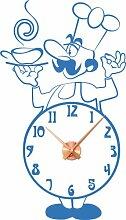 Wandtattoo Wanduhr mit Uhrwerk für Küche Koch Zahlen Tasse Suppentasse (Uhr Kupfer//053 hellblau)