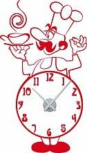 Wandtattoo Wanduhr mit Uhrwerk für Küche Koch Zahlen Tasse Suppentasse (Uhr Silber//032 hellrot)