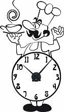 Wandtattoo Wanduhr mit Uhrwerk für Küche Koch Zahlen Tasse Suppentasse (Uhr Schwarz//070 schwarz)