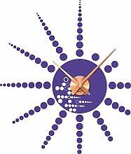 Wandtattoo Wanduhr mit Uhrwerk für Wohnzimmer Kreise Punkte Sonne Dots (Uhrwerk kupfer//043 lavendel)