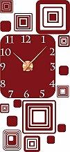 Wandtattoo Wanduhr mit Uhrwerk für Wohnzimmer Retro Cubes Design Zahlen (Uhrwerk kupfer//030 dunkelrot)