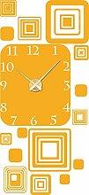 Wandtattoo Wanduhr mit Uhrwerk für Wohnzimmer Retro Cubes Design Zahlen (Uhrwerk gold//020 goldgelb)