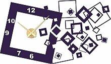 Wandtattoo Wanduhr mit Uhrwerk für Wohnzimmer Retro Cubes Zahlen wirrwarr (Uhrwerk gold//040 violett)