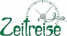 Wandtattoo Wanduhr mit Uhrwerk für Wohnzimmer Spruch Zeitreise Ornamente (Uhr Silber//061 grün)