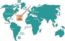 Wandtattoo Wanduhr mit Uhrwerk für Wohnzimmer Welt Städte Kontinente Zahlen (Uhrwerk kupfer//054 türkis)
