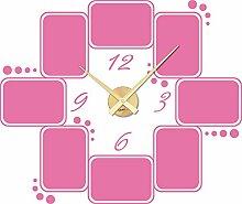 Wandtattoo Wanduhr Rahmen Bilderrahmen Uhr für Wohnzimmer Kreise Zahlen Zeit (Gold//045 hellrosa)