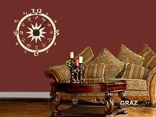 Wandtattoo Wanduhr Sternzeichen Horoskop Design für Ihr Wohnzimmer (Uhr Schwarz/Aufkleber Schwarz)