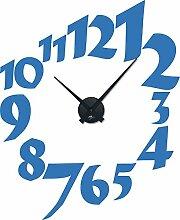 Wandtattoo Wanduhr Tattoo mit Uhrwerk für Wohnzimmer Zahlen Zeit Zahl Kreis (Uhr Schwarz//053 hellblau)