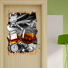 Wandtattoo Whiskey und Uhr