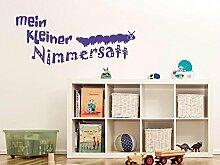 Wandtattooration für Kinderzimmer Spruch mein kleiner Nimmersatt mit Raupe (121x50cm//056 lichtblau)