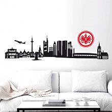 Wandtattoos - Wandtattoo Eintracht Frankfurt Skyline mit Logo farbig