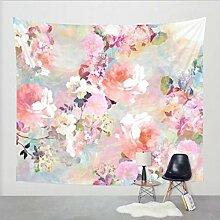 Wandteppich Chinesische Rosa Rose, Wandtuch Pfingstrosen orientalische Wand dekoration mit psychedelic Stil, Alumuk mehrfarbige Tapisserie Wandbehang aus Baumwolle (150 x 130 cm, Pfingstrose Blume)