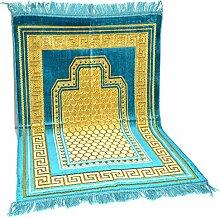 Wandteppich Gebetsteppich Läufer Orientteppich Kadife Seccade Samt 110x70cm (Türkis)