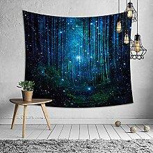 Wandteppich Hochwertige Blaue Waldnacht Wandbehang