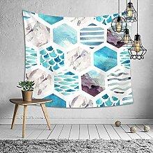 Wandteppich Hochwertige blaues Aquarell bunt