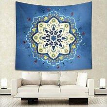 Wandteppich Mandala Blume, Wandtuch tumlr room decor Zimmer Bohemian orientalische dekoration mit psychedelic Hippie Stil, Alumuk mehrfarbige Tapisserie Wandbehang aus Baumwolle (Blume Blaues Meer, 150 x 130 cm)