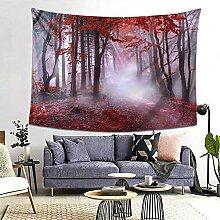Wandteppich, Motiv: Herbstnebel, Nebel, Wald,