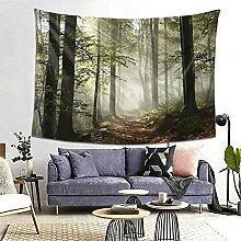Wandteppich, Motiv: Waldweg, Sonnenschein,