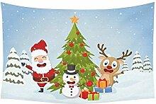 wandteppich weihnachten weihnachtsmann rentiere