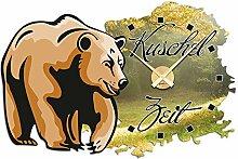 Wandticker Uhr Wanduhr inkl. Uhrwerk für Wohnzimmer Spruch Kuschelzeit Bär (Uhr Gold)
