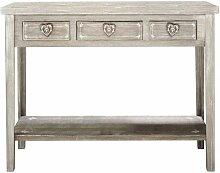 Wandtisch aus Paulownienholz, B 105 cm, taupe