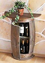 Wandtisch halbrund Tisch Weinregal Weinfass Braun