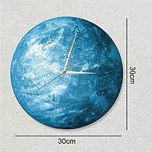 Wanduhr 30 cm kreative Uhr lunar Globe glow Dekoration Wanduhr Acryl wasserdichte Wanduhr, schwarz