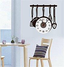 Wanduhr 3D- Kreativer Küchen-Taktgeber-Aufkleber Küche / Wohnzimmer / Schlafzimmer / personifizierter Uhr-Wand-Taktgeber-Aufkleber