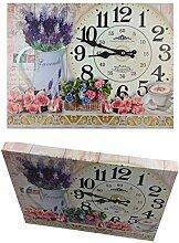 Wanduhr 40 x 30 cm Holz Blumenstrauß Küchenuhr
