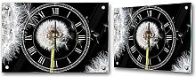 Wanduhr 60x40cm PREMIUM PLUS Wand Foto Uhr Wand Bild Glasuhr Glasbild Glasdeko - Blumen Glasuhr Pusteblume Pflanze Natur Fasern schwarz - weiß - no. 0010
