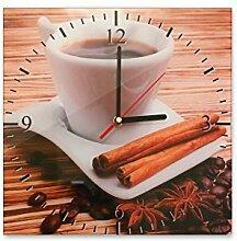 Wanduhr aus Glas 30x30cm - 031 - Tasse Kaffee - - quadratisch - Uhr aus Glas - Glasuhr - Wandschmuck - 3D Optik - Analog - dekoratives Muster - klassisch für Küche, Wohnzimmer, Schlafzimmer und Flur - modern - günstig - Ziffernblatt - Uhrwerk - Wanduhr - Design - Uhrzei
