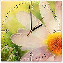 Wanduhr aus Glas 30x30cm - 036 - Gänseblümchen - - quadratisch - Uhr aus Glas - Glasuhr - Wandschmuck - 3D Optik - Analog - dekoratives Muster - klassisch für Küche, Wohnzimmer, Schlafzimmer und Flur - modern - günstig - Ziffernblatt - Uhrwerk - Wanduhr - Design - Uhrzeit - Blume - Blumenmotiv auf Uhr