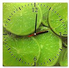 Wanduhr aus Glas 30x30cm - 038 - Limetten - - quadratisch - Uhr aus Glas - Glasuhr - Wandschmuck - 3D Optik - Analog - dekoratives Muster - klassisch für Küche, Wohnzimmer, Schlafzimmer und Flur - modern - günstig - Ziffernblatt - Uhrwerk - Wanduhr - Design - Uhrzeit - Obst - Zitrone