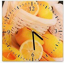 Wanduhr aus Glas 30x30cm - 039 - Zitronen - - quadratisch - Uhr aus Glas - Glasuhr - Wandschmuck - 3D Optik - Analog - dekoratives Muster - klassisch für Küche, Wohnzimmer, Schlafzimmer und Flur - modern - günstig - Ziffernblatt - Uhrwerk - Wanduhr - Design - Uhrzeit - Obs