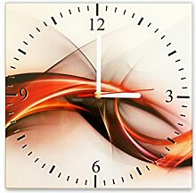 Wanduhr aus Glas 30x30cm - 051 - Abstrakt - - quadratisch - Uhr aus Glas - Glasuhr - Wandschmuck - 3D Optik - Analog - dekoratives Muster - klassisch für Küche, Wohnzimmer, Schlafzimmer und Flur - modern - günstig - Ziffernblatt - Uhrwerk - Wanduhr - Design - Uhrzeit - Tiermotiv - Tier auf Uhr - grafisch - ro