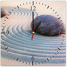 Wanduhr aus Glas 30x30cm - 052 - Zen - - quadratisch - Uhr aus Glas - Glasuhr - Wandschmuck - 3D Optik - Analog - dekoratives Muster - klassisch für Küche, Wohnzimmer, Schlafzimmer und Flur - modern - günstig - Ziffernblatt - Uhrwerk - Wanduhr - Design - Uhrzeit - Tiermotiv - Tier auf Uhr - Stein - Körper - Geist - Seele - Entspannung - Ruhe - Kraf