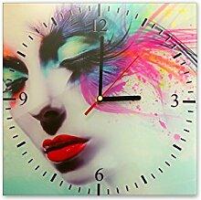 Wanduhr aus Glas 30x30cm - 064 - Schöne Frau - - quadratisch - Uhr aus Glas - Glasuhr - Wandschmuck - 3D Optik - Analog - dekoratives Muster - klassisch für Küche, Wohnzimmer, Schlafzimmer und Flur - modern - günstig - Ziffernblatt - Uhrwerk - Wanduhr - Design - Uhrzei