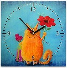 Wanduhr aus Glas 30x30cm - 069 - Kätzchen - - quadratisch - Uhr aus Glas - Glasuhr - Wandschmuck - 3D Optik - Analog - dekoratives Muster - klassisch für Küche, Wohnzimmer, Schlafzimmer und Flur - modern - günstig - Ziffernblatt - Uhrwerk - Wanduhr - Design - Uhrzeit - Tiermotiv - Tier auf Uhr - Katze - Katzenbild