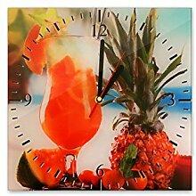 Wanduhr aus Glas 30x30cm - 083 - Drinks - - quadratisch - Uhr aus Glas - Glasuhr - Wandschmuck - 3D Optik - Analog - dekoratives Muster - klassisch für Küche, Wohnzimmer, Schlafzimmer und Flur - modern - günstig - Ziffernblatt - Uhrwerk - Wanduhr - Design - Uhrzeit - Drink