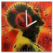 Wanduhr aus Glas 30x30cm - 118 - Musik rot - - quadratisch - Uhr aus Glas - Glasuhr - Wandschmuck - 3D Optik - Analog - dekoratives Muster - klassisch für Küche, Wohnzimmer, Schlafzimmer und Flur - modern - günstig - Ziffernblatt - Uhrwerk - Wanduhr - Design - Uhrzei