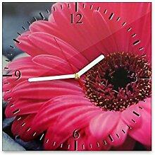 Wanduhr aus Glas 30x30cm - 155 - Gerbera - - quadratisch - Uhr aus Glas - Glasuhr - Wandschmuck - 3D Optik - Analog - dekoratives Muster - klassisch für Küche, Wohnzimmer, Schlafzimmer und Flur - modern - günstig - Ziffernblatt - Uhrwerk - Wanduhr - Design - Uhrzeit - Blume - Blumenmotiv auf Uhr