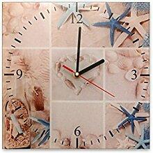 Wanduhr aus Glas 30x30cm - 157, Maritim Motiv - Strandgut - - quadratisch - Uhr aus Glas - Glasuhr - Wandschmuck - 3D Optik - Analog - dekoratives Muster - klassisch für Küche, Wohnzimmer, Schlafzimmer und Flur - modern - günstig - Ziffernblatt - Uhrwerk - Wanduhr - Design - Uhrzei