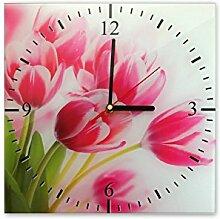 Wanduhr aus Glas 30x30cm - 179 - Tulpen - - quadratisch - Uhr aus Glas - Glasuhr - Wandschmuck - 3D Optik - Analog - dekoratives Muster - klassisch für Küche, Wohnzimmer, Schlafzimmer und Flur - modern - günstig - Ziffernblatt - Uhrwerk - Wanduhr - Design - Uhrzeit - Blume - Blumenmotiv auf Uhr