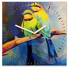 Wanduhr aus Glas 30x30cm - 222 - Vögel - - quadratisch - Uhr aus Glas - Glasuhr - Wandschmuck - 3D Optik - Analog - dekoratives Muster - klassisch für Küche, Wohnzimmer, Schlafzimmer und Flur - modern - günstig - Ziffernblatt - Uhrwerk - Wanduhr - Design - Uhrzeit - Tiermotiv - Tier auf Uhr - Vogel - Vogelbild